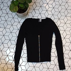 H&M DIVIDEDBlack Rib Knit Zippered Cardigan XS
